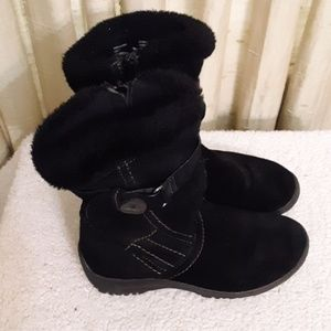 Earth Spirit Black Leather Suede Fur Boot Sz 7